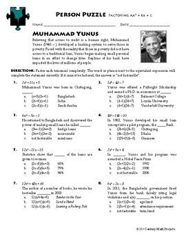 Person Puzzle - Factoring ax^2 + bx + c - Muhammad Yunus Worksheet
