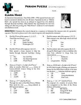 Person Puzzle -- Geometric Sequences - Clara Hale Worksheet