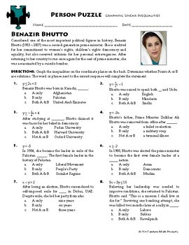 Person Puzzle - Graphing Linear Inequalities - Benazir Bhutto WS