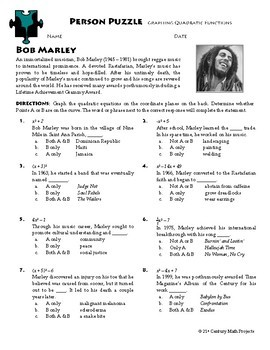 Person Puzzle - Graphing Quadratic Functions - Bob Marley Worksheet