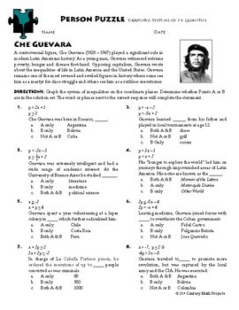 Person Puzzle -- Graphing Systems of Inequalities - Che Guevara WS