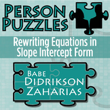 Person Puzzle - Rewriting Linear Equations in y=mx+b - Babe Didrikson Zaharias