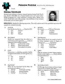 Person Puzzle - Multiplying Monomials - Irena Sendler Worksheet