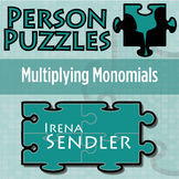 Person Puzzle - Multiplying Monomials - Irena Sendler Worksheet