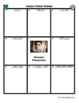 Person Puzzle - Multiplying Radicals - Malala Yousafzai Worksheet