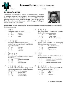 Person Puzzle - Order of Operations - Cesar Chavez Worksheet | TpT