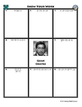 person puzzle order of operations cesar chavez worksheet tpt. Black Bedroom Furniture Sets. Home Design Ideas
