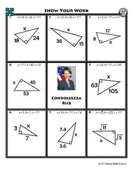 Person Puzzle - Pythagorean Theorem - Condoleezza Rice Worksheet