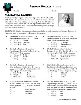 Person Puzzle - Relations - Mahatma Gandhi Worksheet