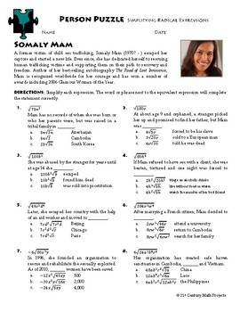 Person Puzzle - Simplifying Radical Expressions - Somaly Mam Worksheet