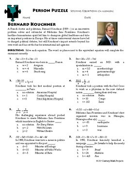 Person Puzzle - Equations (Challenging) - Bernard Kouchner WS