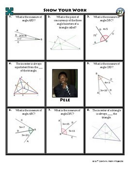 Person Puzzle - Angle Bisectors of Triangles - Pele Worksheet