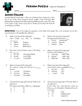 Person Puzzle - Area of Trapezoids - Anne Frank Worksheet