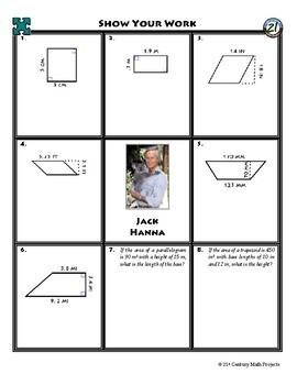 Person Puzzle - Areas of Quadrilaterals - Jack Hanna Worksheet