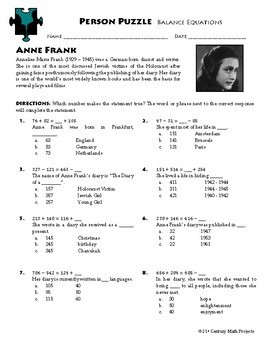 Person Puzzle - Balance Add & Subtract Equations - Anne Frank Worksheet