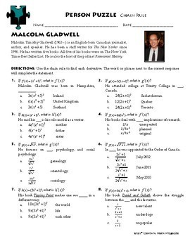Person Puzzle - Chain Rule - Malcolm Gladwell Worksheet