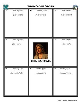 Person Puzzle - Chain Rule with Trig Functions - Lisa Randall Worksheet