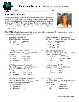Person Puzzle -- Classifying Quadrilaterals - Kelly Perkins Worksheet