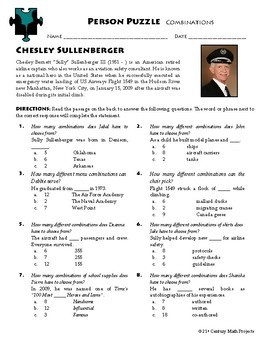 Person Puzzle -- Combinations - Chesley Sullenberger Worksheet