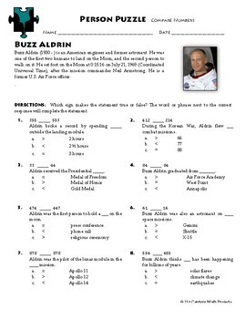 Person Puzzle - Comparing Two Numbers - Buzz Aldrin Worksheet