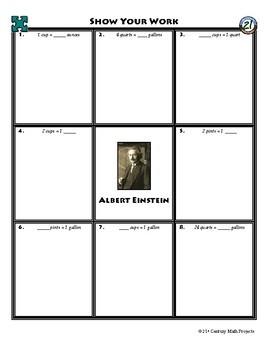 Person Puzzle - Convert Units of Volume - Albert Einstein Worksheet
