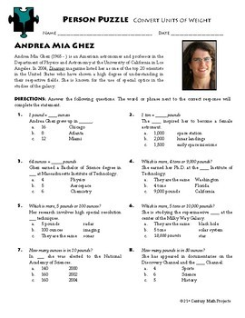 Person Puzzle - Convert Units of Weight - Andrea Mia Ghez Worksheet