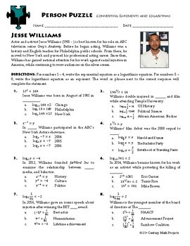 Person Puzzle -- Converting Exponentials and Logarithms - Jesse Williams WS