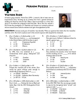 person puzzle direct variation victor rios worksheet by clark creative math. Black Bedroom Furniture Sets. Home Design Ideas