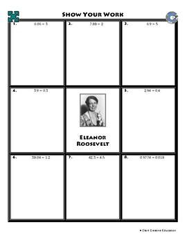 Person Puzzle - Dividing Decimals - Eleanor Roosevelt Worksheet