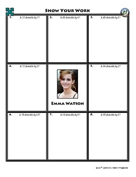 Person Puzzle -- Divisibility Rules - Emma Watson Worksheet