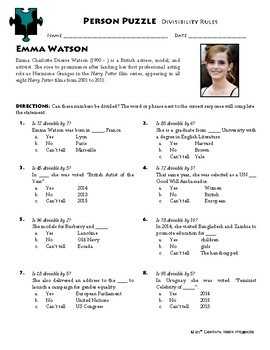 Person Puzzle - Divisibility Rules - Emma Watson Worksheet