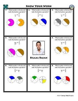 Person Puzzle -- Equivalent Fractions - Bilaal Rajan Worksheet