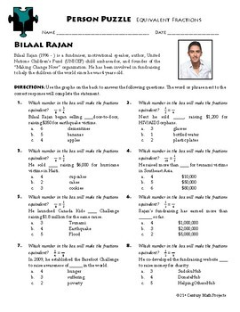 Person Puzzle - Equivalent Fractions - Bilaal Rajan Worksheet