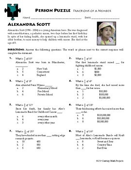 Person Puzzle -- Fractions of a Number - Alexandra Scott Worksheet