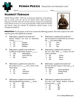 Person Puzzle - Fractions on a Number Line - Harriet Tubman Worksheet