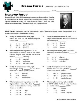 Person Puzzle - Graphing Complex Numbers -  Sigmund Freud Worksheet