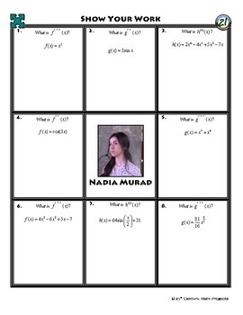 Person Puzzle - Higher Order Derivatives - Nadia Murad Worksheet