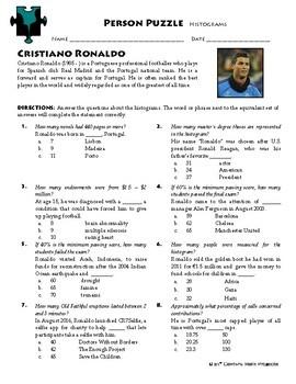 Person Puzzle - Histograms - Cristiano Ronaldo Worksheet