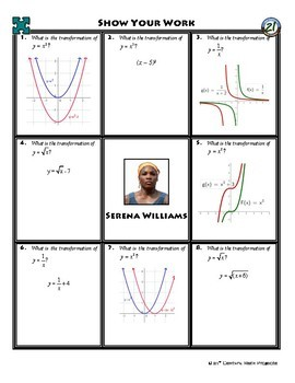 Person Puzzle - Identifying the Function Transformation - Serena Williams WS
