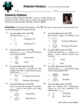 Person Puzzle - Implicit Differentiation - Connie Chung Worksheet