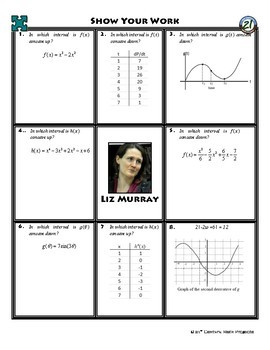 Person Puzzle - Intervals of Concavity - Liz Murray Worksheet