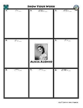 Person Puzzle - Introduction to Imaginary Numbers - Alicia Alonso Worksheet
