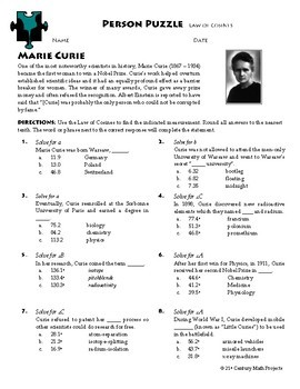 Person Puzzle - Law of Cosines - Marie Curie Worksheet