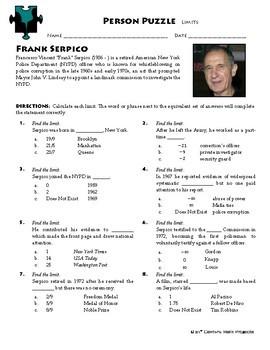 Person Puzzle - Limits - Frank Serpico Worksheet