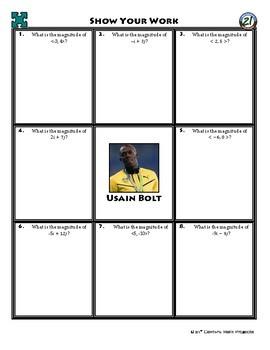 Person Puzzle - Magnitude of Vectors - Usain Bolt WS