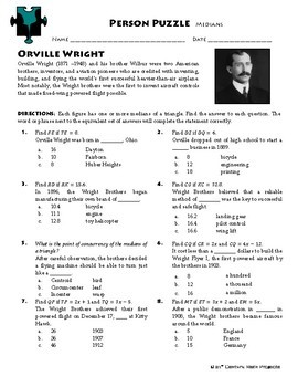 Person Puzzle - Medians in Triangles - Orville Wright