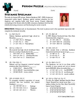 Person Puzzle Multiplying Polynomials Stefanie Spielman Worksheet