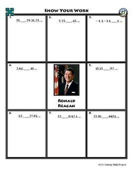 Person Puzzle - Number Sequences - Ronald Reagan Worksheet