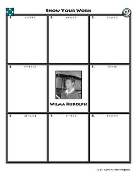 Person Puzzle -- One-Step Equations (Elem) - Wilma Rudolph Worksheet