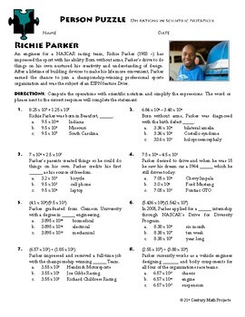 Person Puzzle - Operations with Scientific Notation - Richie Parker Worksheet
